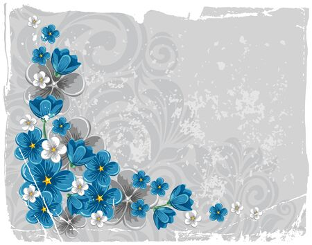 Flowers forget-me-not on gray grunge background
