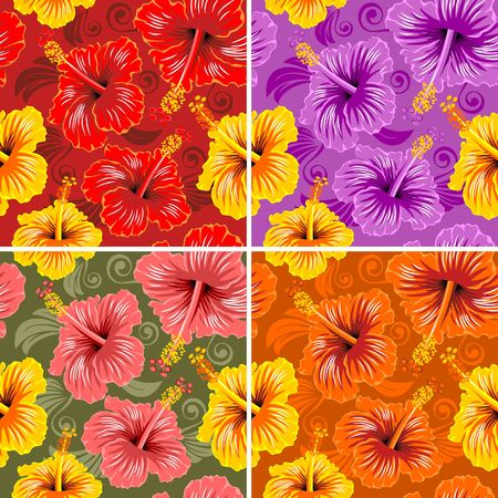 combinations: Hibiscus seamless pattern with 4 color combinations