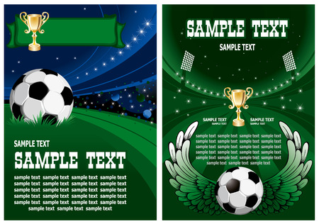 Football poster with champion cup and place for your text Vector Illustration