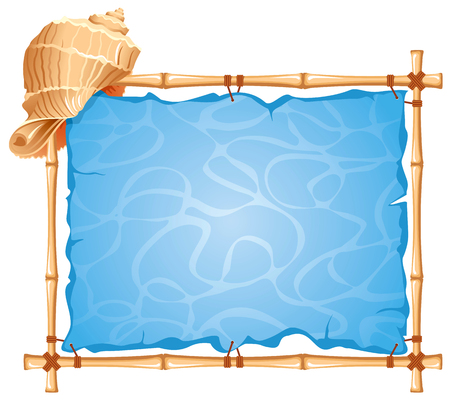 bamboo frame: Bamboo Frame with seashell. Detailed vector picture.