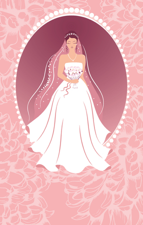 Bride with a bouquet. Wedding background.
