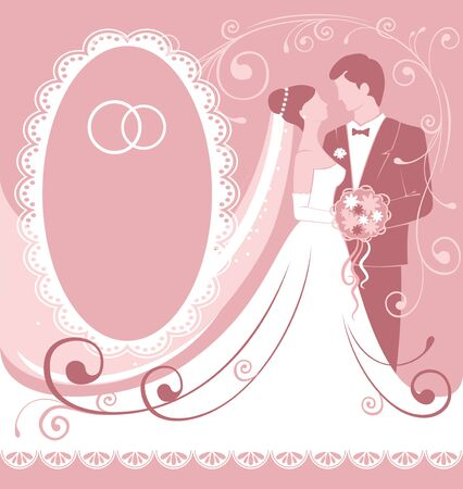 cartoon bouquet: Bride and groom. Gentle wedding background. Vector. Illustration