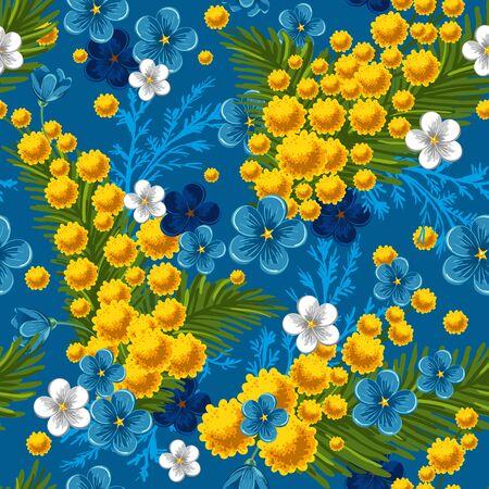mimose: Bella seamless con dimenticare-me-not e mimose su sfondo blu, illustrazione vettoriale