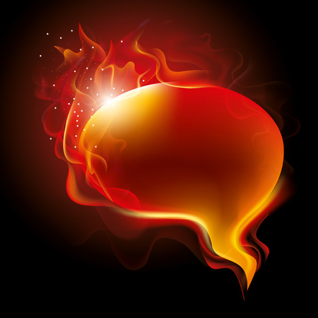 burning: Burning speech bubble, vector iluustration