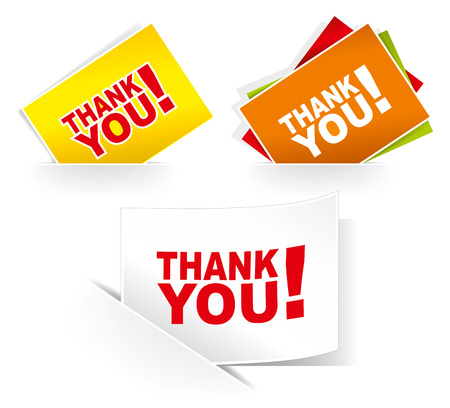 grateful: Thank you - grateful cards. Vector illustration.