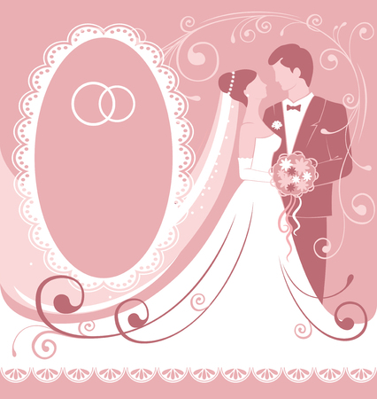Bride and groom. Gentle wedding background. Vector.