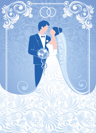 groom and bride: Bride and groom. Gentle wedding background. Vector. Illustration