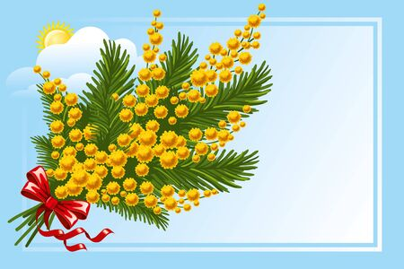 bunch of flowers: Beautiful spring bouquet of mimosa with a blank space for your text, vector illustration Illustration