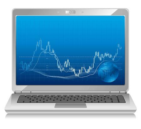workstation: Stock chart on laptop, mobile workstation