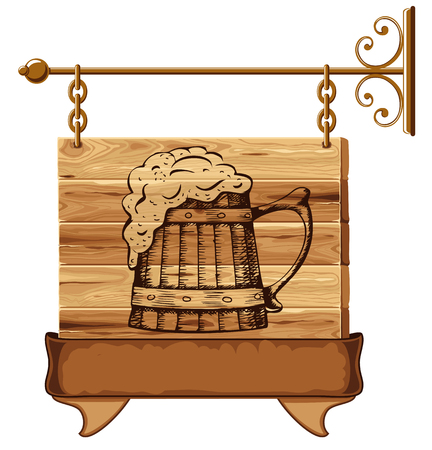 Wooden pub sign with mug of beer