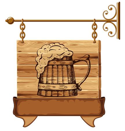 letrero: signo publicación de madera con la taza de cerveza Vectores
