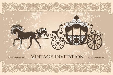 corona reina: carruaje real con el caballo en el fondo del grunge