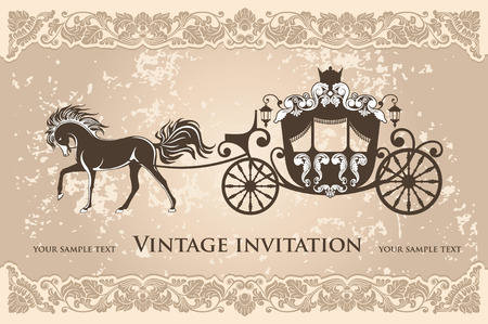 fairy tale princess: Royal carriage with  horse on the grunge background Illustration