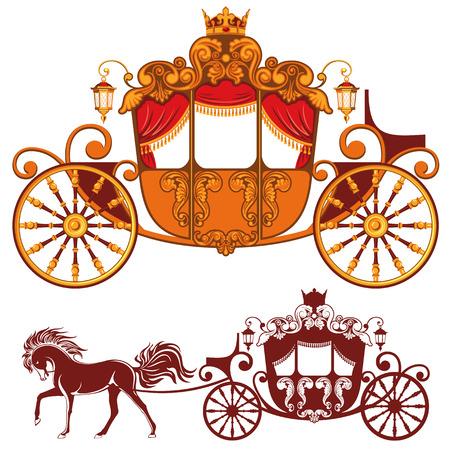 Dwie karetki Królewski. Szczegółowy obraz i sylwetka. Ilustracje wektorowe