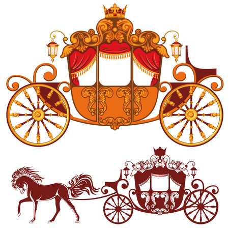 fairy tale princess: Two Royal carriage. Detailed image and silhouette. Illustration