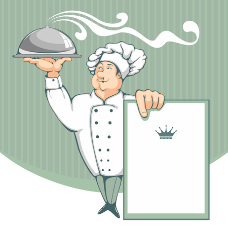 dinner plate: Cartoon chef carrying dinner plate with perfect meal. Menu background.
