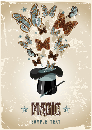 magus: Vintage background with magicians hat, wand and butterflies