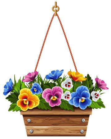 vaso di fiori in legno con viole del pensiero multi colorato. Illustrazione vettoriale.