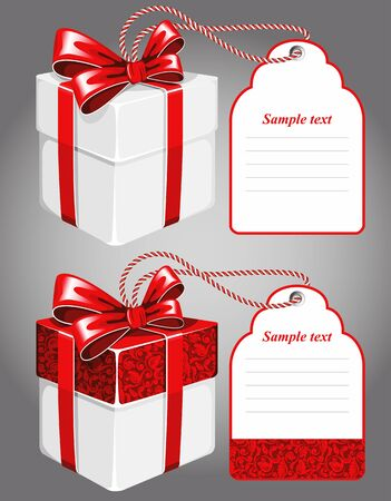 text box: Gift box with red bow and large label. Plenty of space for your text. Illustration