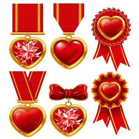 Colección de medallas en forma de corazones
