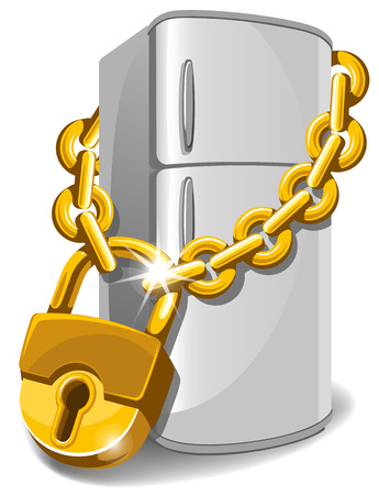 chain food: Refrigerator locked with chain. Diet concept. Vector illustration.