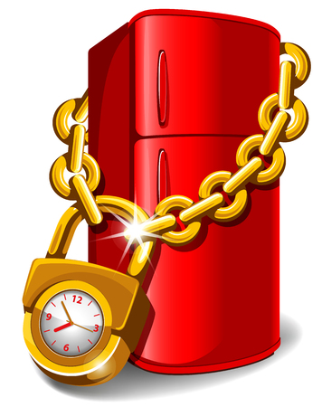 oclock: Refrigerator locked with chain. Diet concept. Do not eat after six oclock in the evening! Vector illustration. Illustration