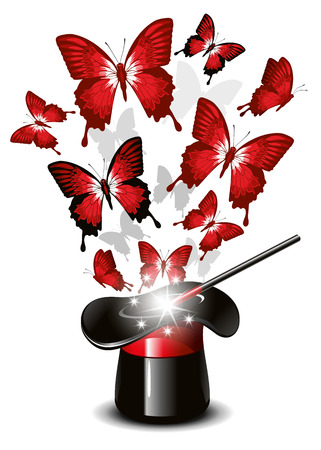 Magician's hat, wand and butterflies