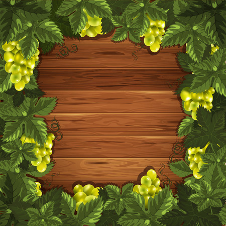 Beautiful background with ripe grapes on wooden surface. Vector illustration. There is a place for your text.