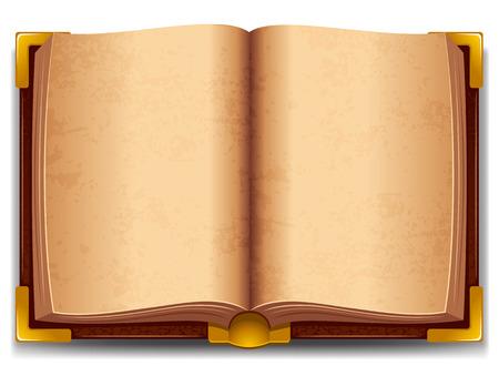 Geopend oud boek in lederen cover en met gouden decoratie. Stock Illustratie