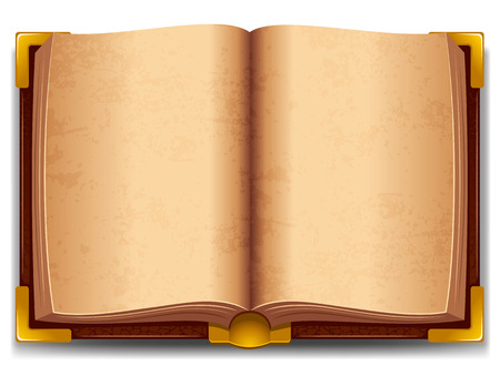 Opened old book in leather cover and with golden decoration. Vectores