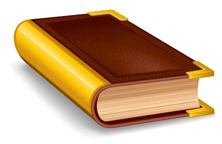 Chiuso vecchio libro in copertina in pelle e con decorazioni dorate.