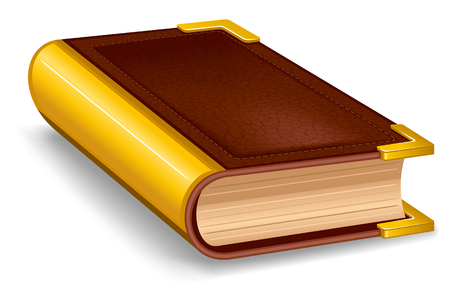 hardback: Closed old book in leather cover and with golden decoration.
