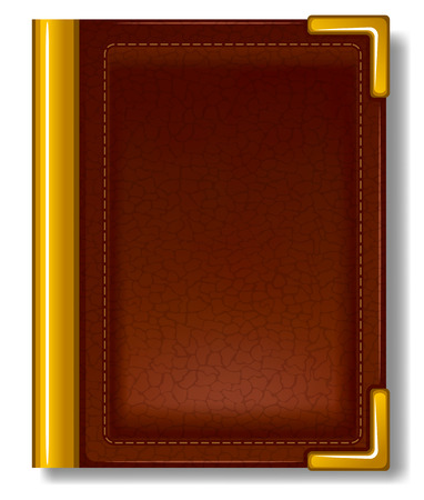 Old book in leather cover and with golden decoration. Illustration