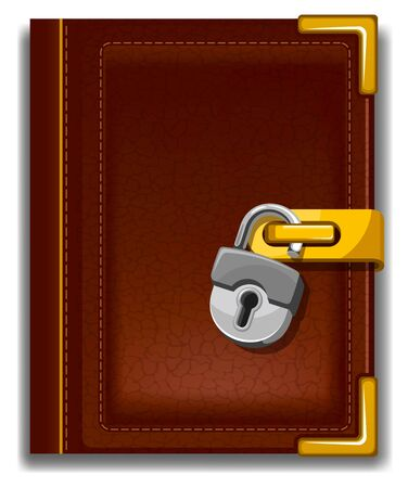 old padlock: Old book in leather cover with golden decoration and padlock.