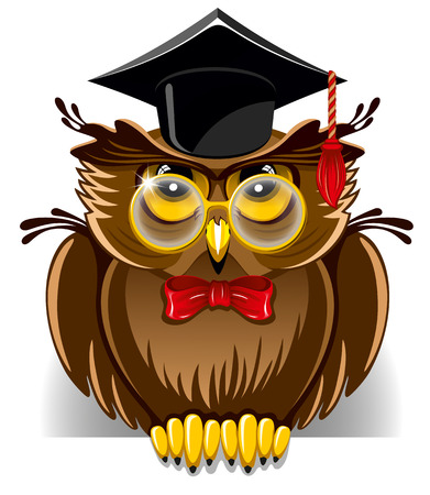Cartoon wise owl in graduation cap