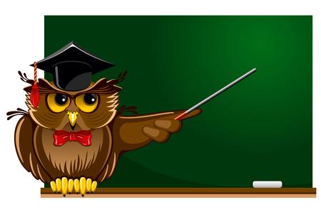 Cartone animato saggio gufo in protezione di graduazione seduto sul bordo di scuola. C'è posto per il testo. Vettoriali