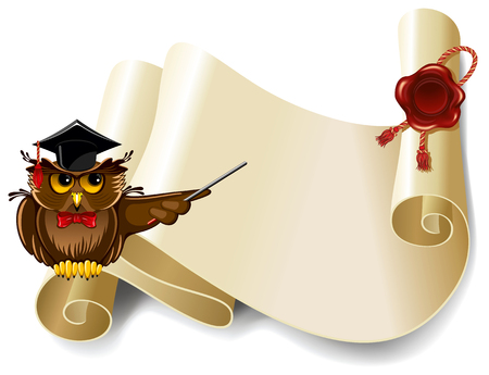manuscript: Wise owl and roll of old paper