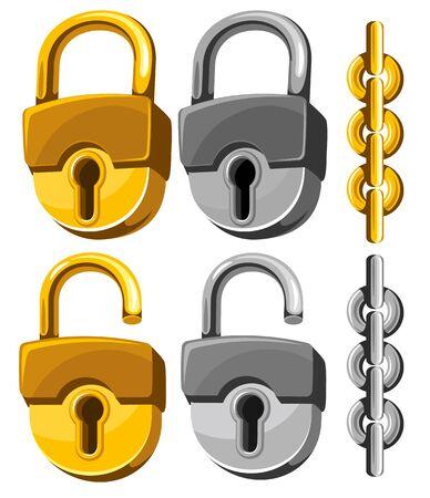 padlocks: Set of closed and opened padlocks with chain. Illustration