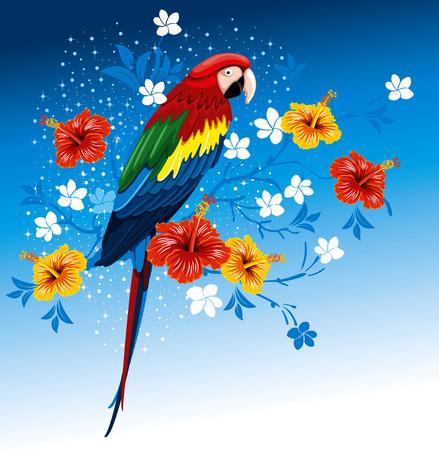 Bright papegaaien zittend op een tak met tropische bloemen Vector Illustratie