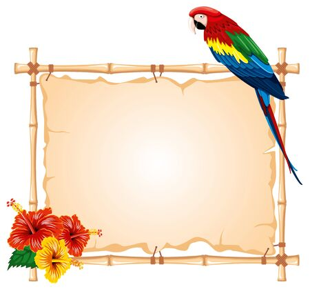 bamboo frame: Bright parrots sitting on a bamboo frame, decorated with tropical flowers Illustration