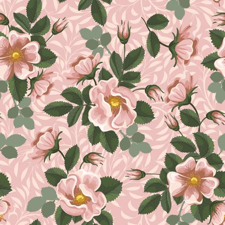 eglantine: Seamless floral background with vintage briars