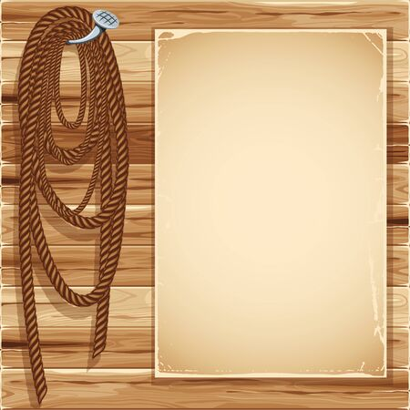 hank: Vintage background with blank page and  hemp rope