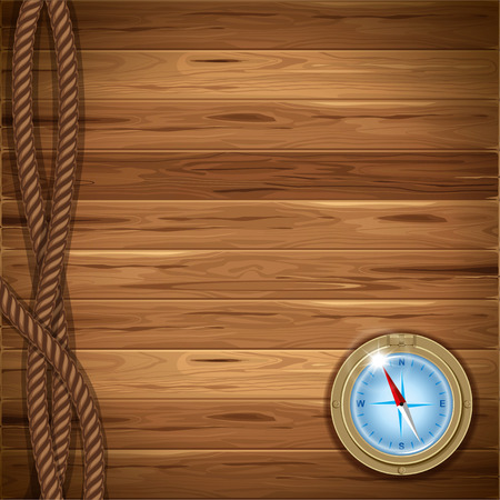 unexplored: Wooden background with rope and compass Illustration