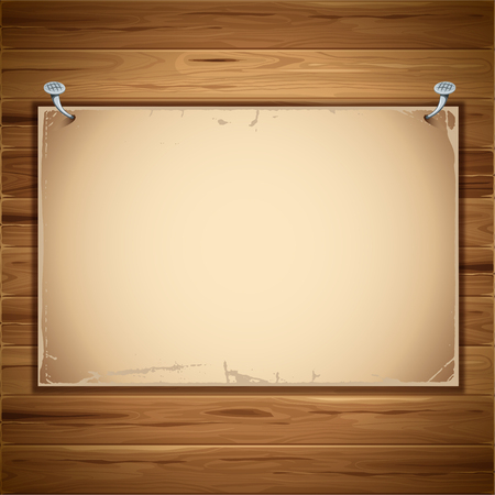 nailed: Old paper sheet nailed to a wooden background