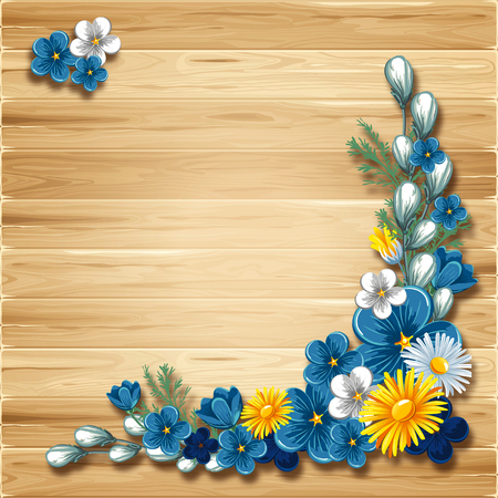daisy wheel: Wooden background with flowers