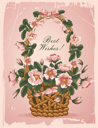 Romantic background with vintage flowers of briars in the basket Illustration