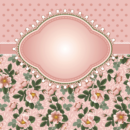 Romantic floral background with vintage flowers of briars Illustration