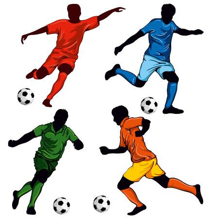 Conjunto de cuatro jugadores de fútbol en diferentes poses. artículos decorativos para su diseño.