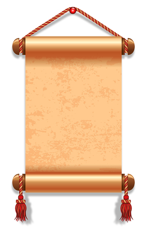 scroll background: Vector illustration of ancient manuscript, decorated with vintage rope. Illustration
