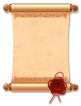 scroll background: Vector illustration of ancient manuscript, with vintage rope and wax seal.